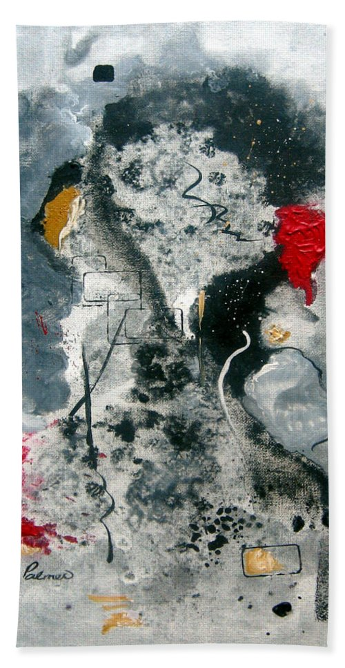 Abstract Beach Towel featuring the painting Moods by Ruth Palmer
