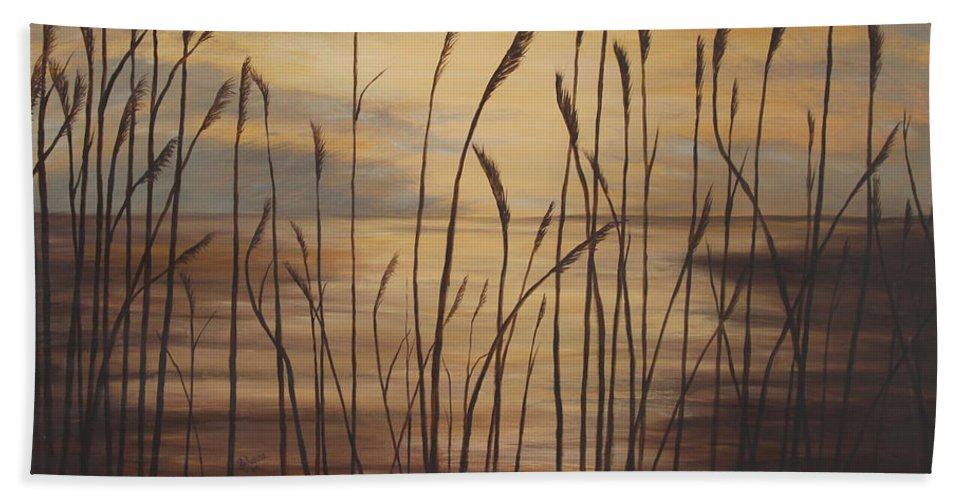 Sunset Beach Towel featuring the painting Moody Sunset by Johanna Lerwick