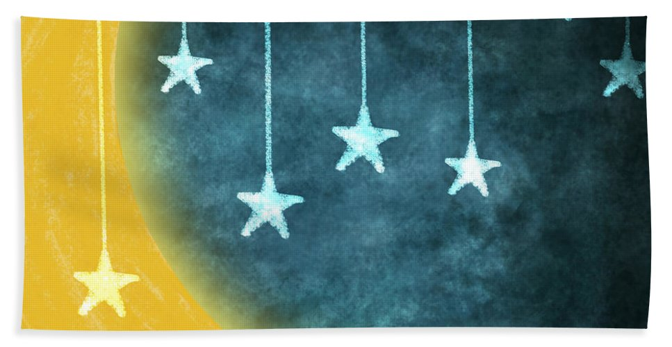 Art Beach Towel featuring the painting Moon And Stars by Setsiri Silapasuwanchai