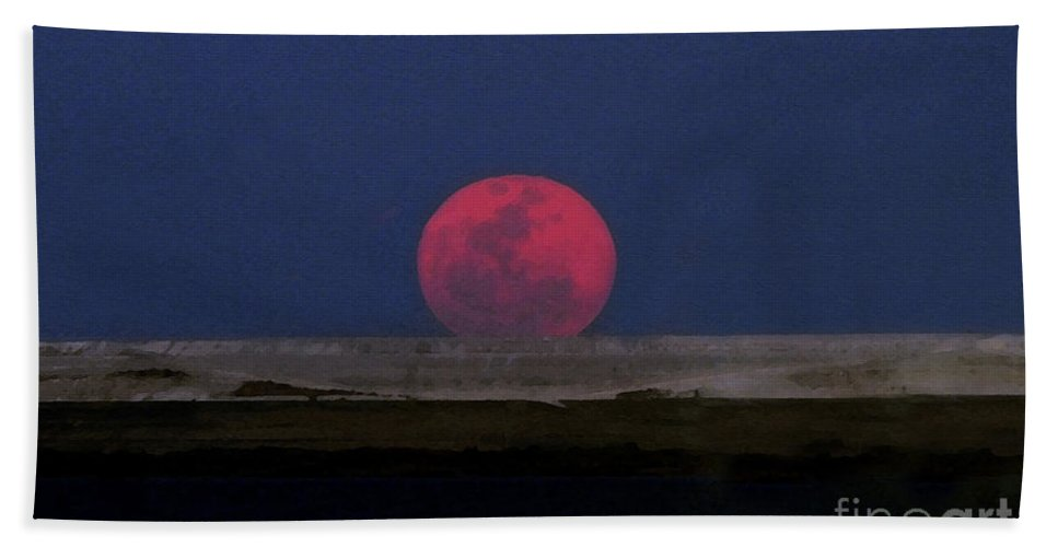 Moon Beach Towel featuring the painting Moon At Perigee by David Lee Thompson