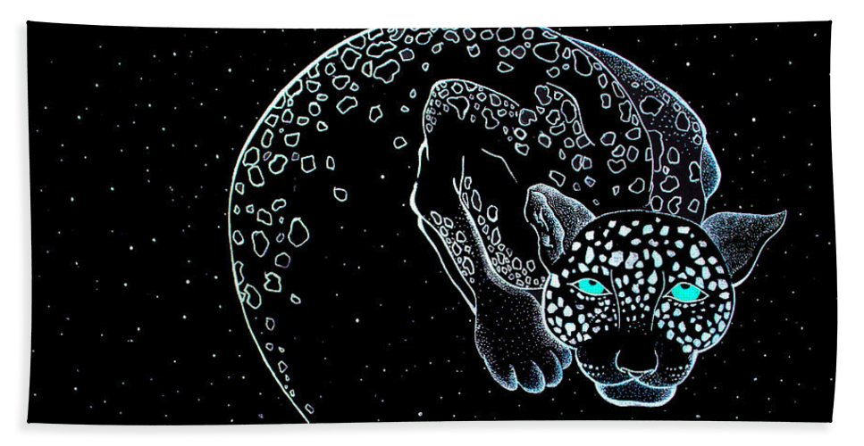 Moon Cat Beach Towel featuring the mixed media Moon-cat by Dwayne Hamilton