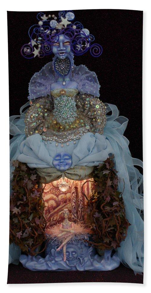 Moon Dreams Art Doll Beach Towel featuring the mixed media Moon Dreams by Judy Henninger