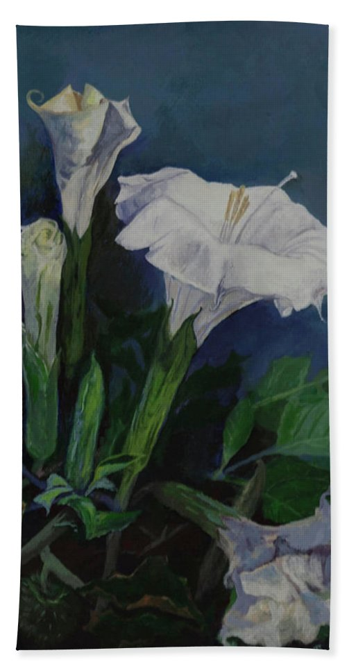 Beach Towel featuring the painting Moon Flower by Beatriz Flores