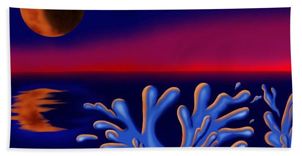 Surrealism Beach Towel featuring the digital art Moon-glow II by Robert Morin