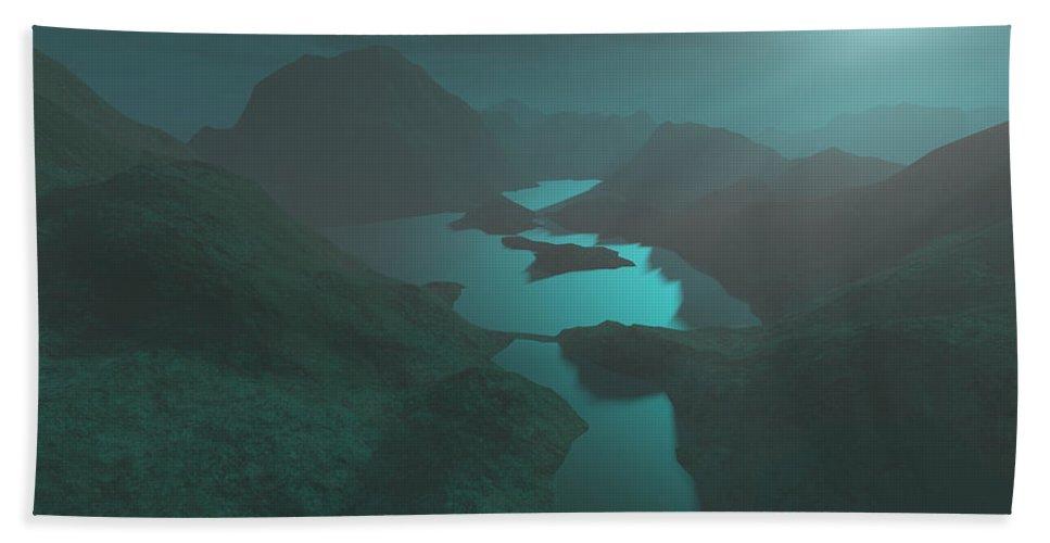 Digital Art Beach Towel featuring the digital art Moon Light At The Mountains by Gaspar Avila