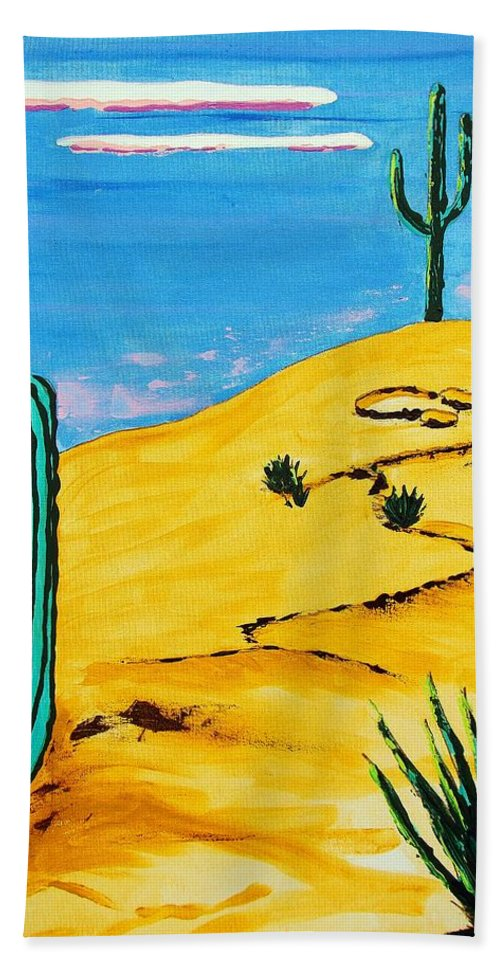 Impressionist Painting Beach Towel featuring the painting Moon Light Cactus R by J R Seymour