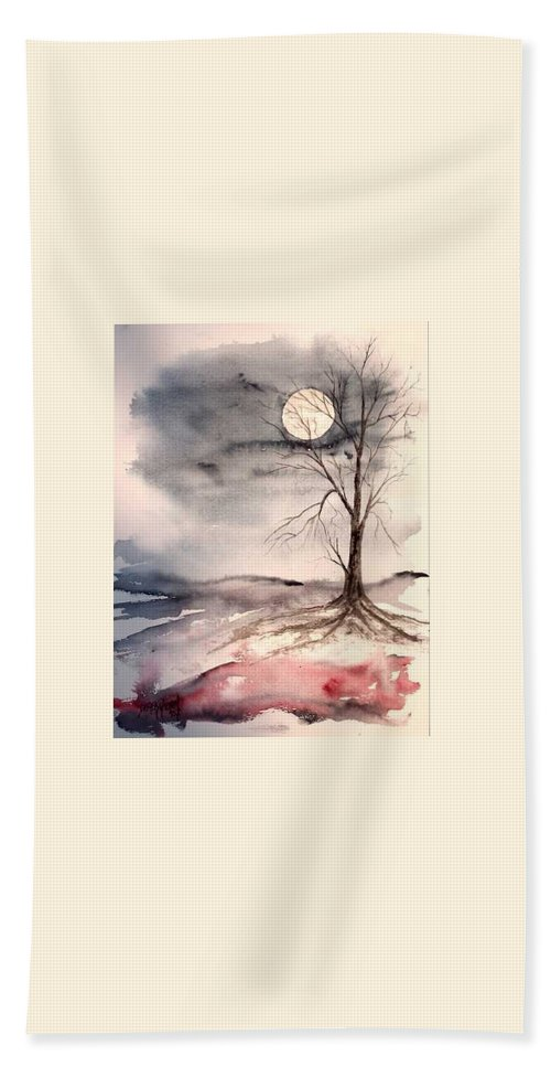Moon Beach Towel featuring the painting Moon Light by Derek Mccrea