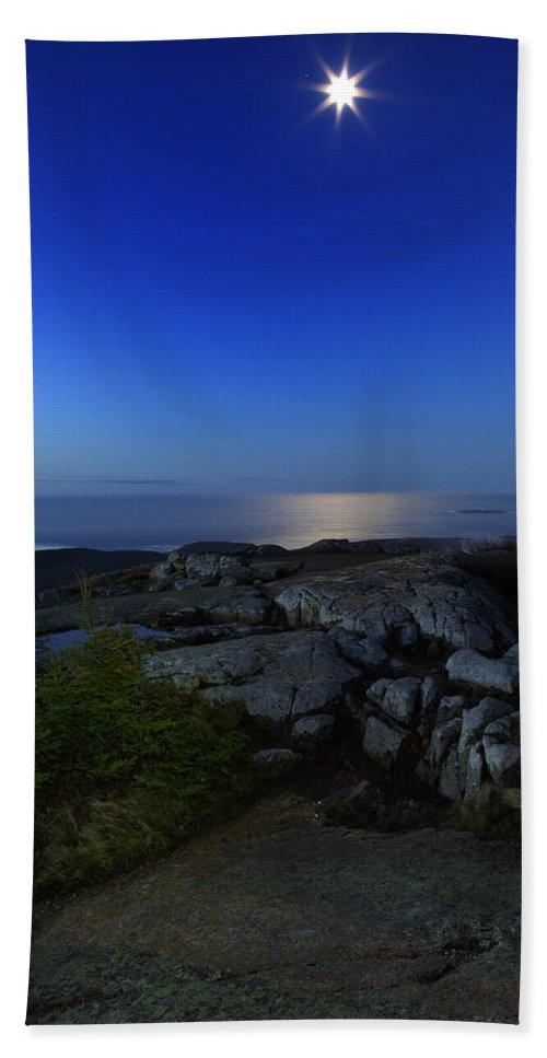 Acadia Beach Towel featuring the photograph Moon Over Cadillac by Rick Berk