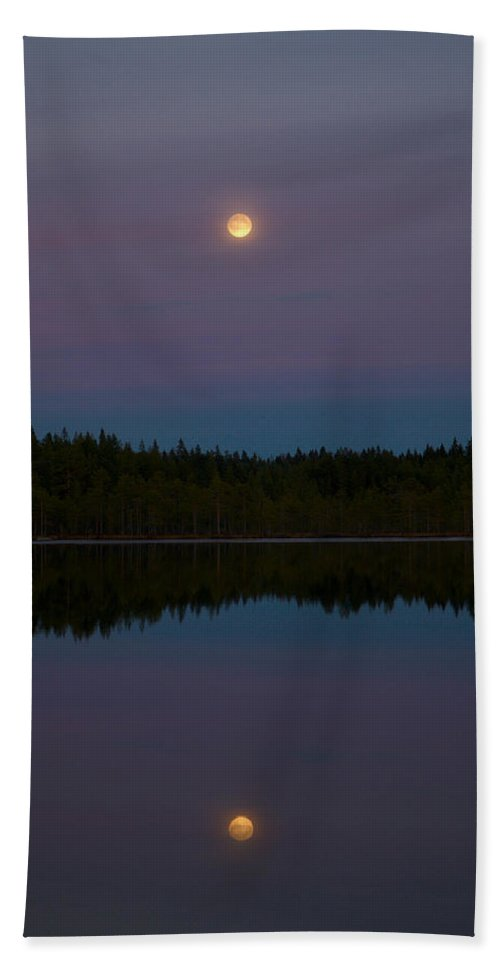 Lehtokukka Beach Towel featuring the photograph Moon Over Kirkas-soljanen 2 by Jouko Lehto