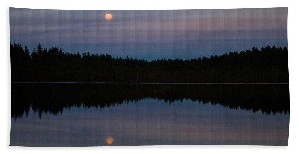Lehtokukka Beach Towel featuring the photograph Moon Over Kirkas-soljanen by Jouko Lehto