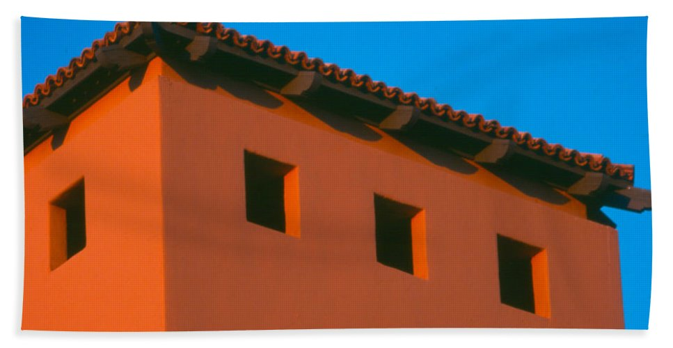 Beach Towel featuring the photograph Moon Over Red Adobe Horizontal by Heather Kirk