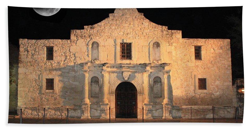 The Alamo Beach Towel featuring the photograph Moon Over The Alamo by Carol Groenen