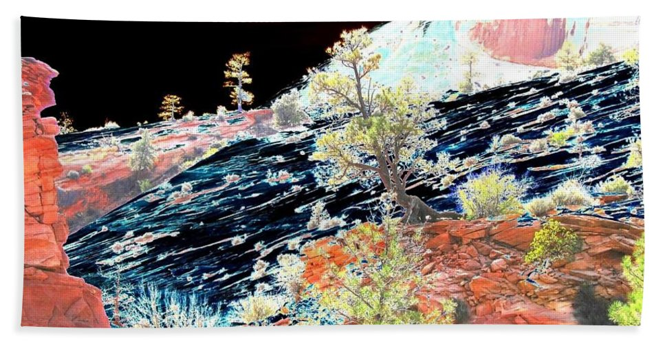 Photo Design Beach Towel featuring the digital art Moon Over Utah by Will Borden