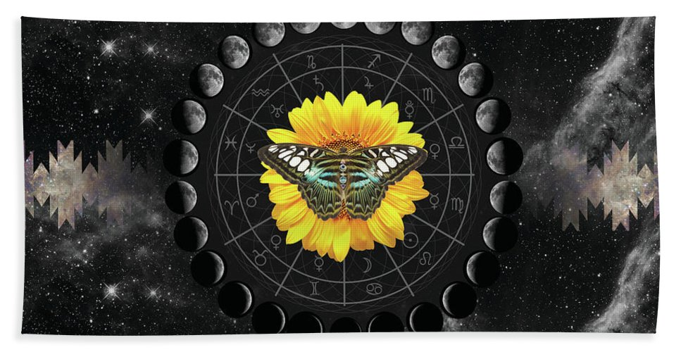 Moon Phase Pendulum Butterfly Beach Towel featuring the digital art Moon Phase Pendulum With Butterfly by Lori Menna
