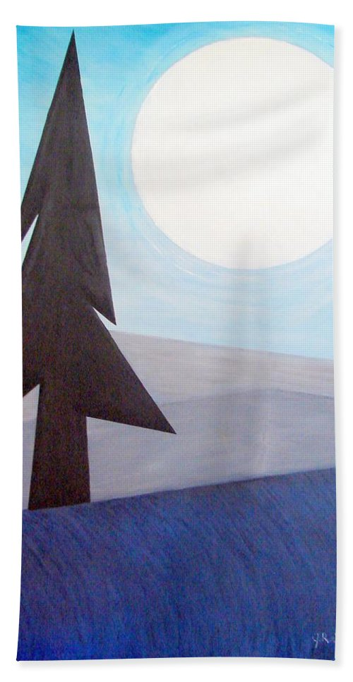 Impressionist Painting Beach Towel featuring the painting Moon Rings by J R Seymour