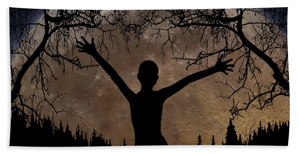 Moon Rising Beach Towel featuring the digital art Moon Rising by Peter Piatt
