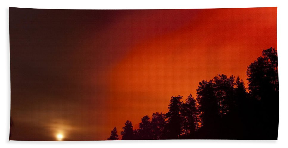 Wild Fire Beach Towel featuring the photograph Moon Rising With A Wild Fire by James BO Insogna