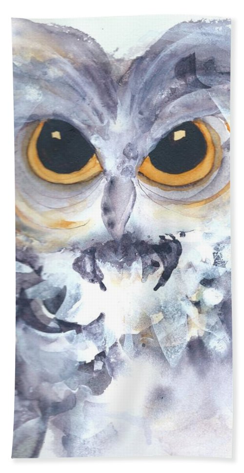 Owl Beach Towel featuring the painting Moonglow by Dawn Derman
