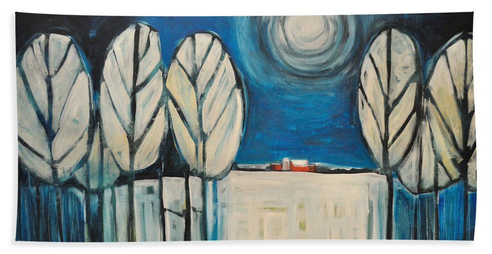 Landscape Beach Towel featuring the painting Moonlight On The First Snow by Tim Nyberg