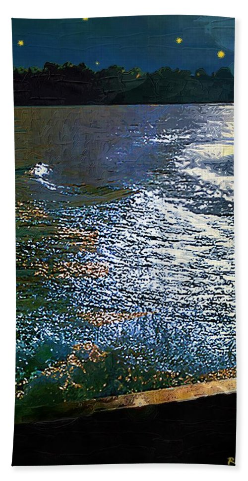 Impasto Beach Towel featuring the painting Moonlight On The Mississippi by RC DeWinter