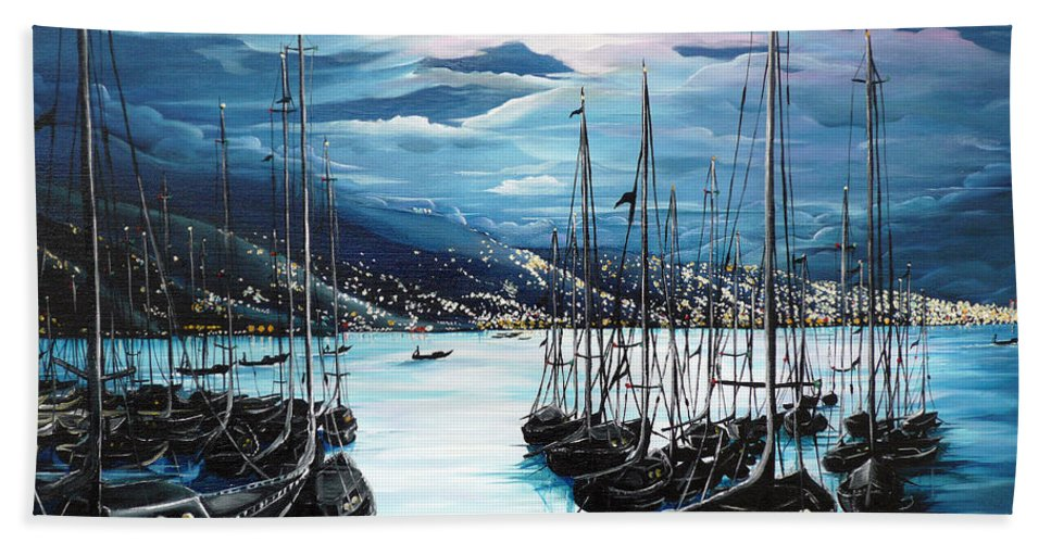 Ocean Painting  Caribbean Seascape Painting Moonlight Painting Yachts Painting Marina Moonlight Port Of Spain Trinidad And Tobago Painting Greeting Card Painting Beach Sheet featuring the painting Moonlight Over Port Of Spain by Karin Dawn Kelshall- Best