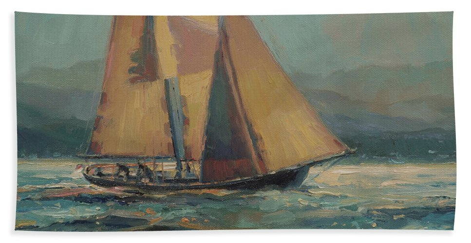Sailboat Beach Towel featuring the painting Moonlight Sail by Steve Henderson