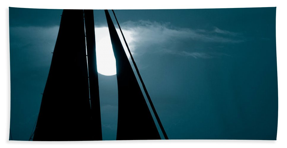 Sails Beach Towel featuring the photograph Moonlight Sail by Susanne Van Hulst