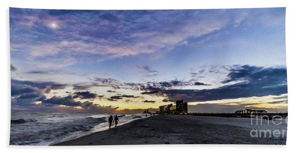 Al Beach Towel featuring the photograph Moonlit Beach Sunset Seascape 0272c by Ricardos Creations