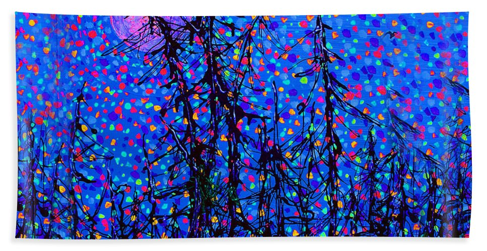 Moon Beach Towel featuring the painting Moonlit Forest by Michael A Klein