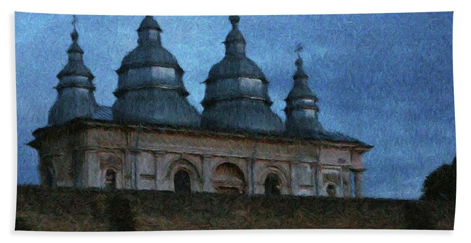 Chapel Beach Towel featuring the painting Moonlit Monastery by Jeffrey Kolker