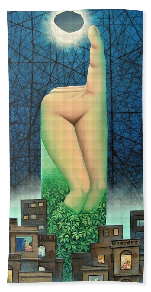 Romantic Beach Towel featuring the painting Moonlit Night- A by Raju Bose