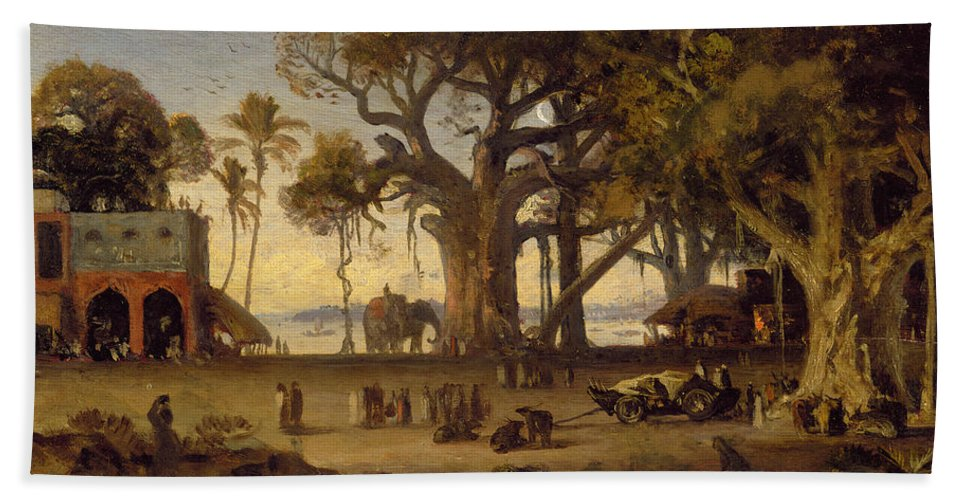 Moonlit Beach Towel featuring the painting Moonlit Scene Of Indian Figures And Elephants Among Banyan Trees by Johann Zoffany