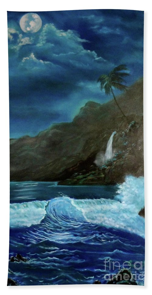 Seascape Beach Towel featuring the painting Moonlit Wave by Jenny Lee
