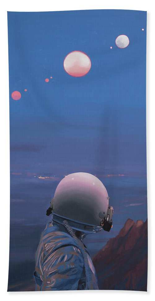 Astronaut Beach Towel featuring the painting Moons by Scott Listfield