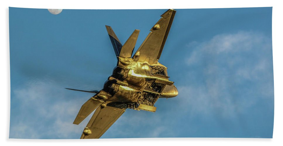 Ca Airshow 2014 Beach Towel featuring the photograph Moonshine Raptor by Tommy Anderson