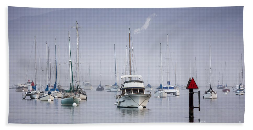Boats Beach Towel featuring the photograph Moored Boats In Morro Bay by Sharon Foelz