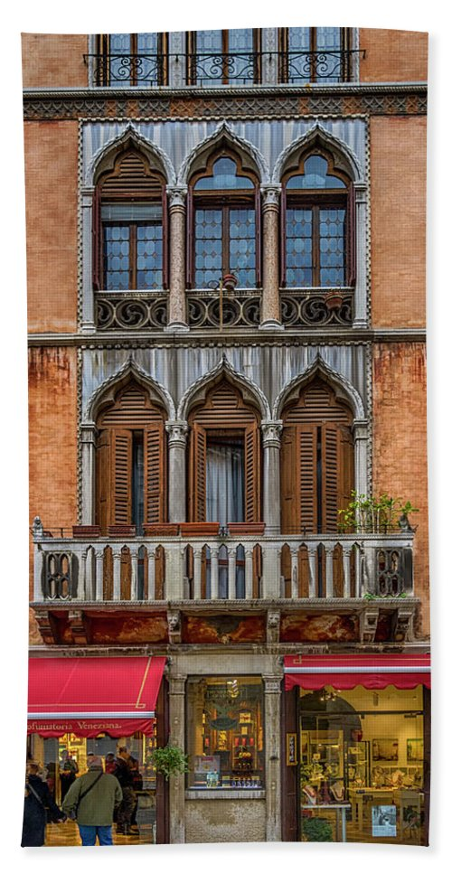 Europe Beach Towel featuring the photograph Moorish Style Windows Venice_dsc1450_02282017 by Greg Kluempers