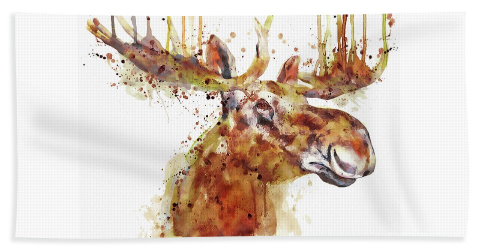 Moose Beach Towel featuring the painting Moose Head by Marian Voicu