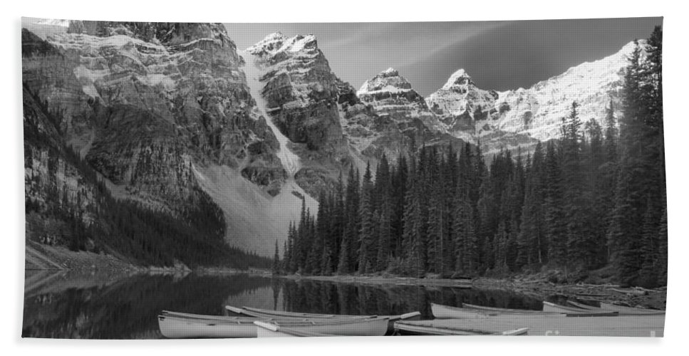 Moraine Lake Moraine Lake Black And White Beach Towel featuring the photograph Moraine Lake In Black And White by Adam Jewell