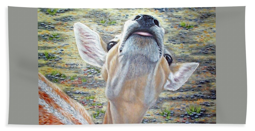 Fuqua - Artwork Beach Towel featuring the painting More Please by Beverly Fuqua