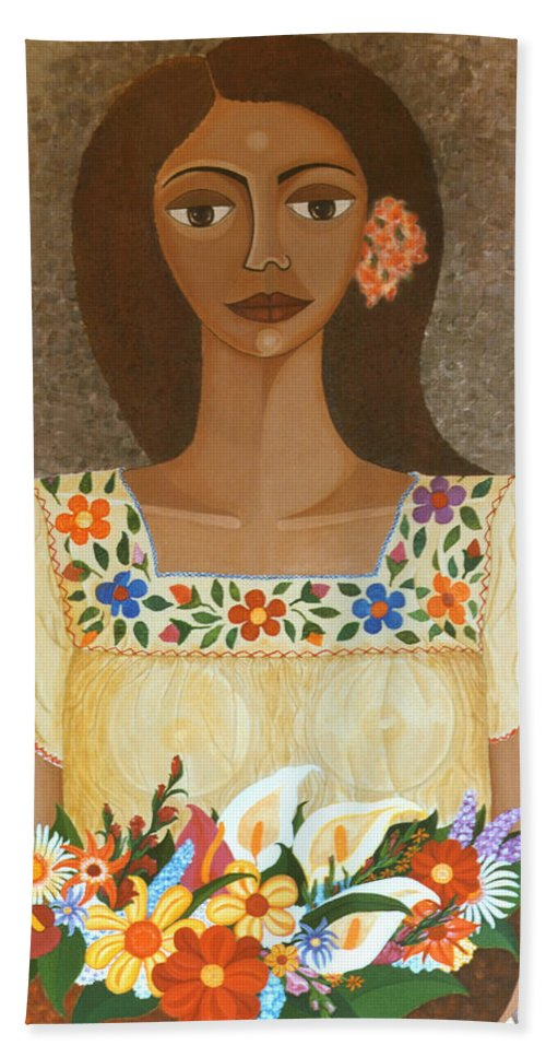 Oil Beach Towel featuring the painting More Than Flowers She Sold Illusions by Madalena Lobao-Tello