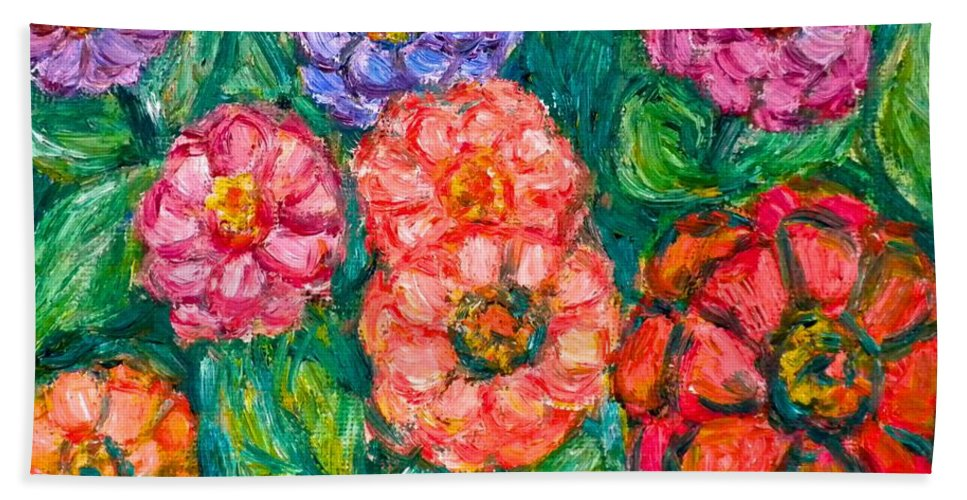 Flowers Beach Towel featuring the painting More Zinnias by Kendall Kessler