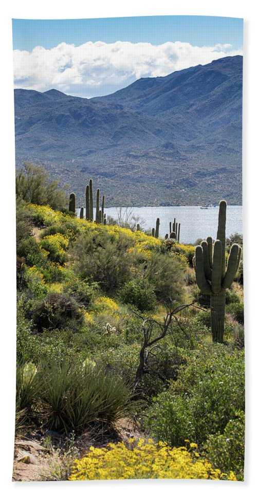 Arizona Beach Towel featuring the photograph Morning At Bartlett Lake by Cathy Franklin