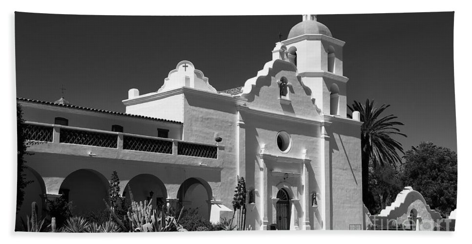 Black & White Beach Towel featuring the photograph Morning At San Luis Rey Mission by Sandra Bronstein