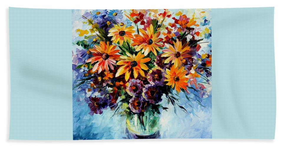 Afremov Beach Towel featuring the painting Morning Bouquet by Leonid Afremov