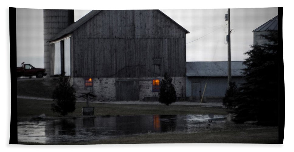 Poster Beach Towel featuring the photograph Morning Chores by Tim Nyberg