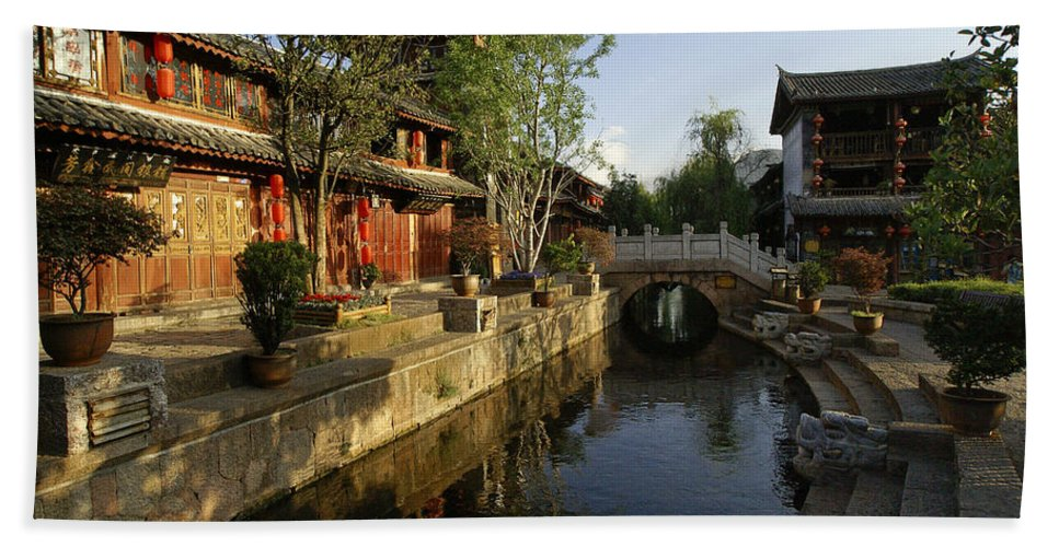Asia Beach Towel featuring the photograph Morning Comes to Lijiang Ancient Town by Michele Burgess