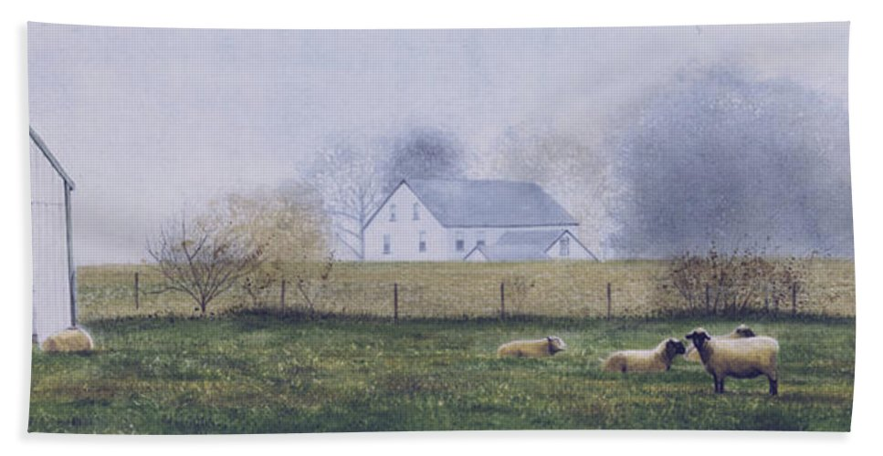 Watercolor Beach Towel featuring the painting Morning Fog by Denny Bond