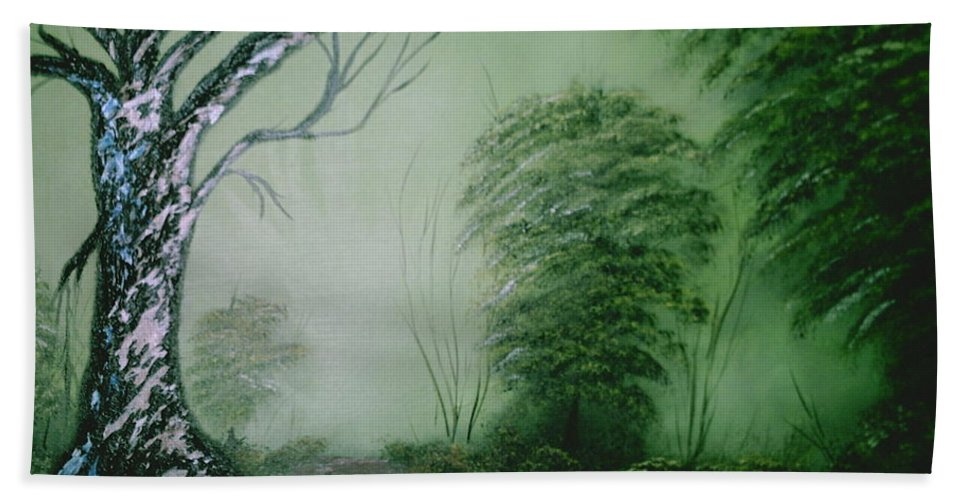Trees Beach Towel featuring the painting Morning Fog by Jim Saltis