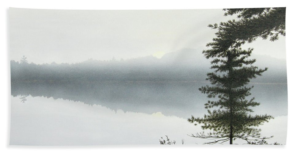 Landscapes Beach Towel featuring the painting Morning Fog by Kenneth M Kirsch